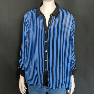 Speed Limit 98 -Blue and black stripe button shirt